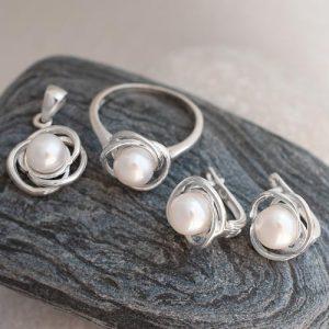 Сребърен к-т с перла