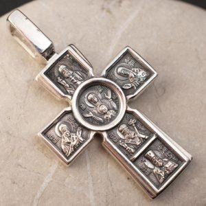 сребърен кръст с Богородица